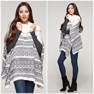 Cream & Gray Jacquard Knit Weave Sweater Poncho